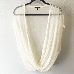 Eileen Fisher cream linen viscose cross sweater LG